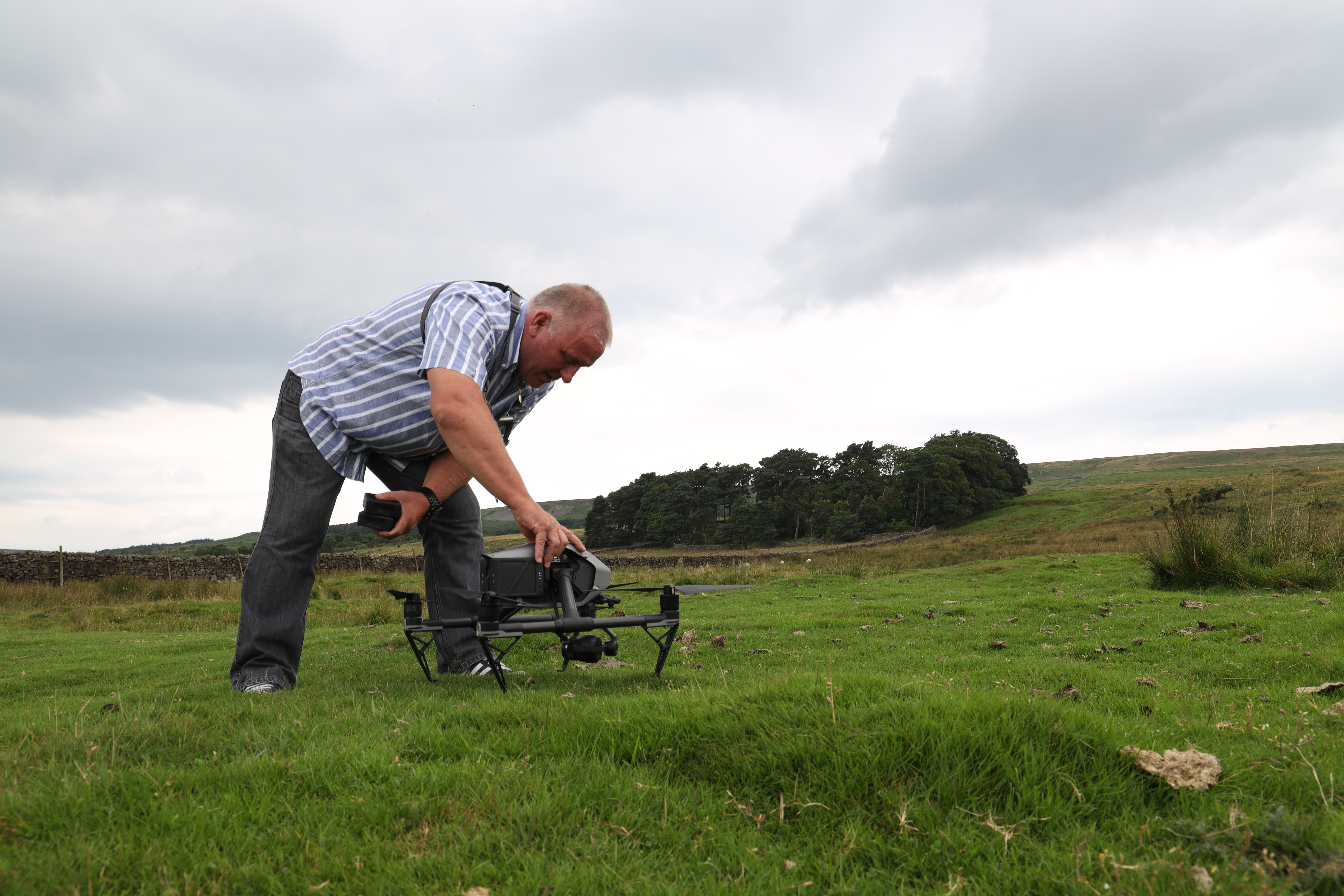 Drone operator setting up drone in the Dales for Cycle the Dales promotional video with Pocket Projects