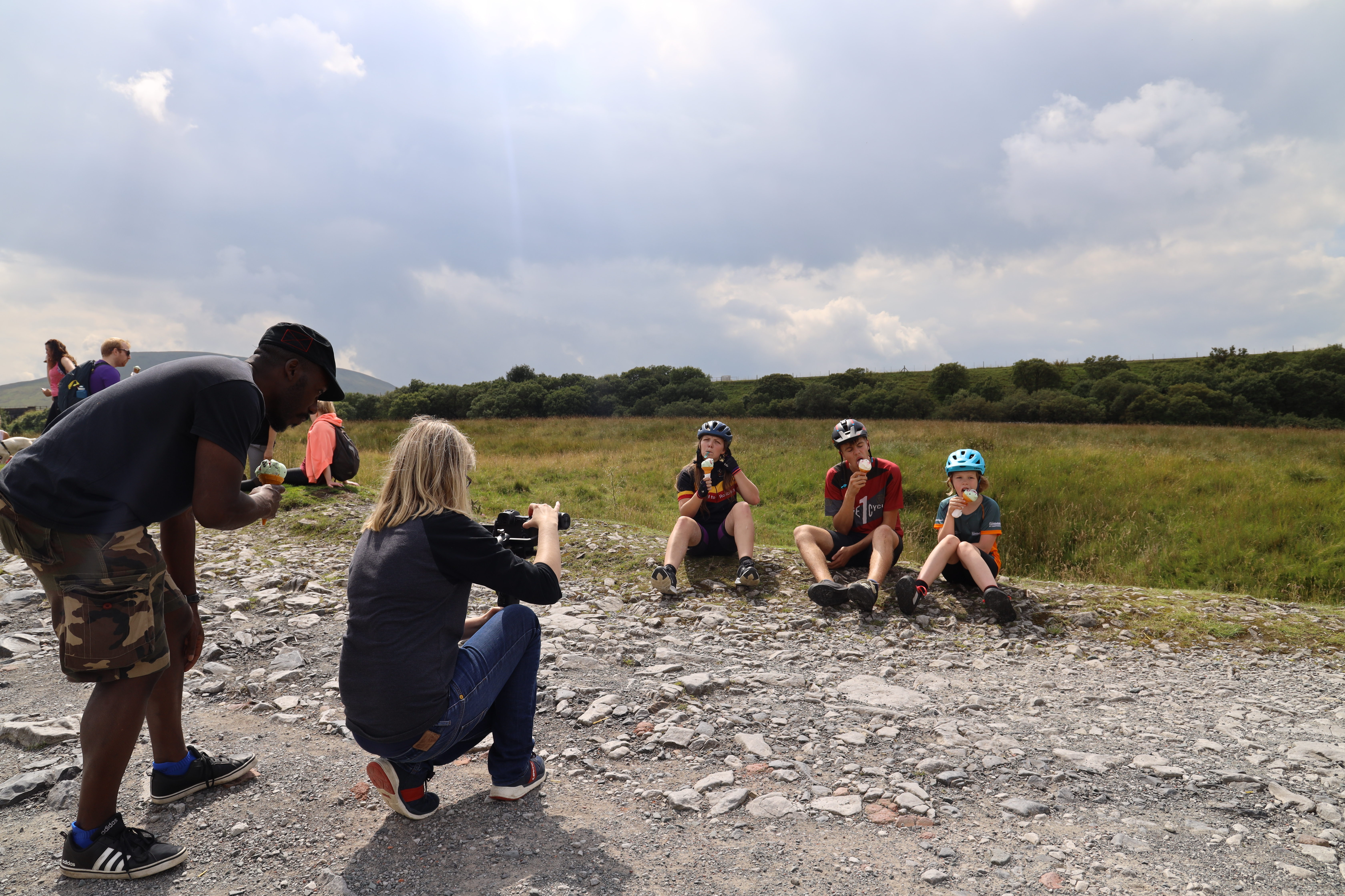 Young cyclists being filmed eating ice creams in the Dales, for the Cycle the Dales promotional video with Pocket Projects