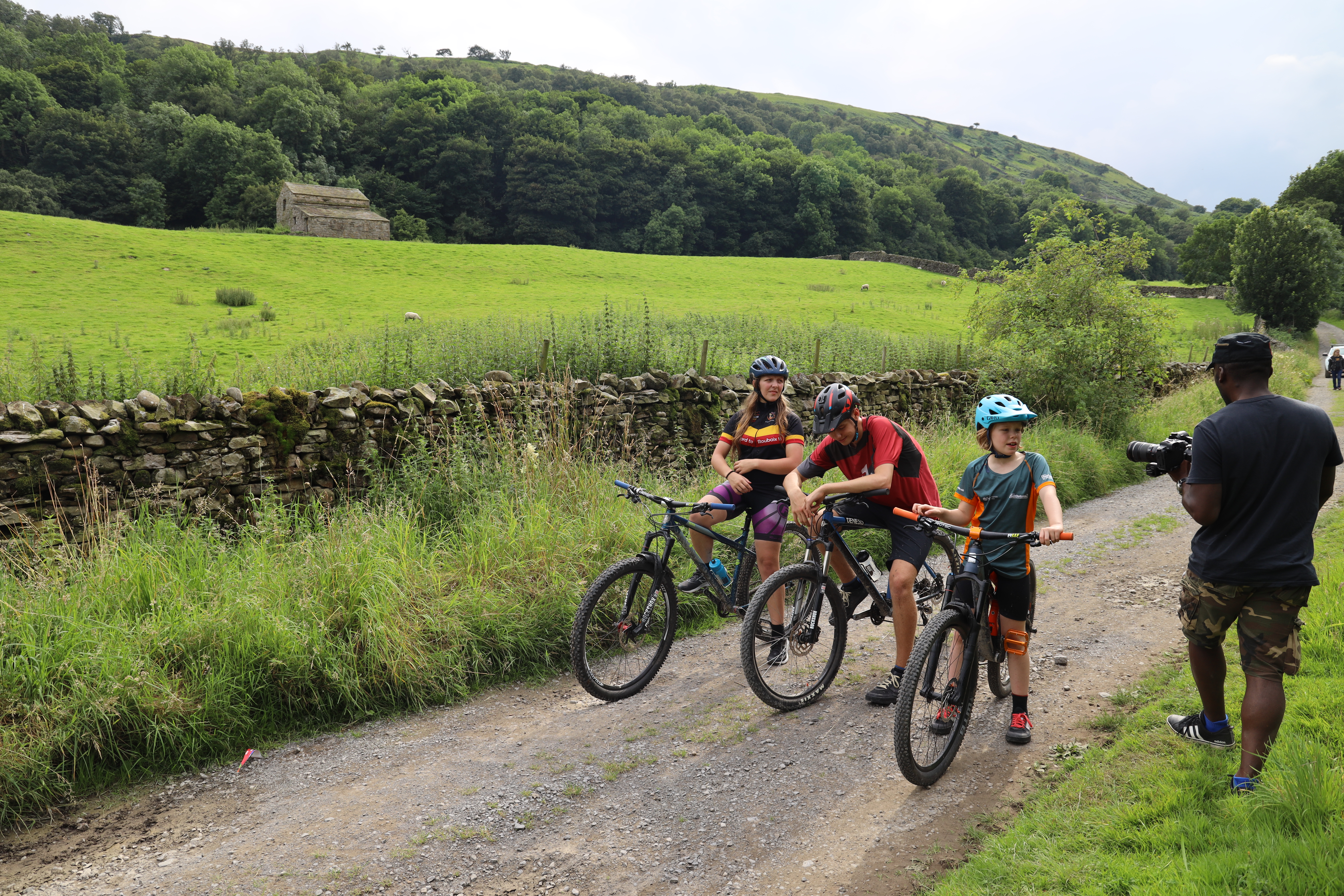Three young mountain bikers filmed on bikes for Cycle the Dales promotional video with Pocket Projects